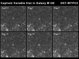 Cepheid Di Galaksi M100. Sumber: Hubblesite. Cepheid variable star in galaxy M100