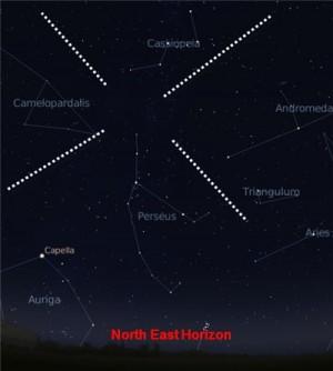 Rasi Perseus di arah timur laut. Semua meteor akan tampak seolah-olah berasal dari rasi ini. Sumber: iya2009.com