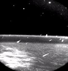 Hujan meteor Leonid dilihat dari orbit (Sumber: Wikipedia)