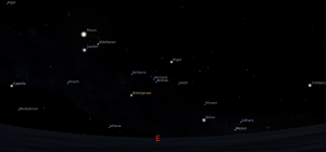 Kenampakan langit timur saat gerhana terjadi -stellarium-