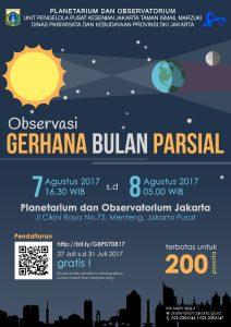 Poster Gerhana Bulan Sebagian 7 Agustus 2017 di Planetarium Jakarta