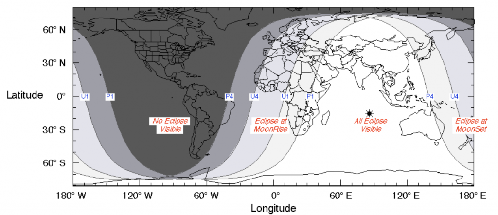 Wilayah yang dapat mengamati Gerhana Bulan Sebagian GBS 7 8 Agustus 2017